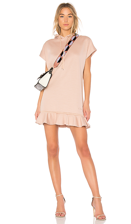 Carven Hoodie Dress With Ruffles in Blush