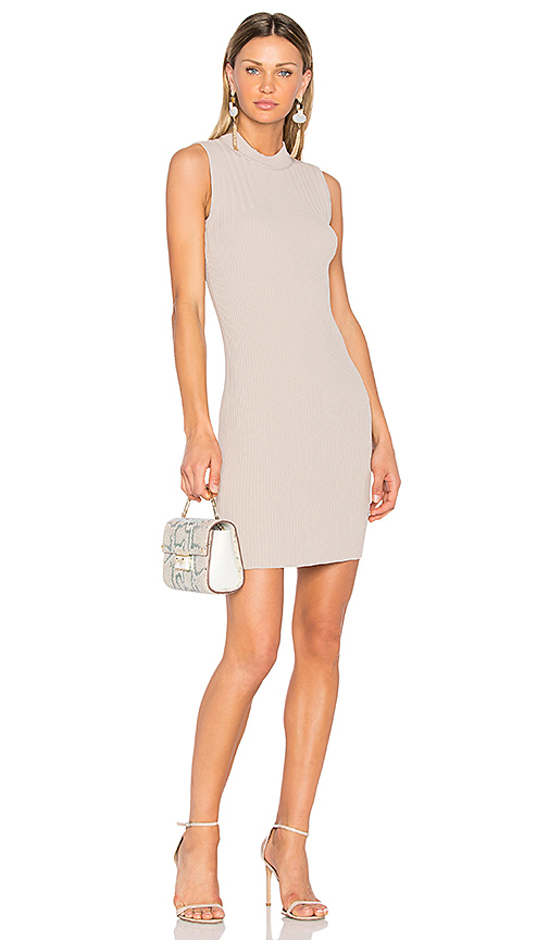 Carven Ribbed Dress in Taupe