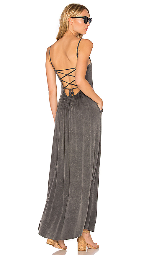 Chaser Criss Cross Tie Back Maxi Dress in Charcoal