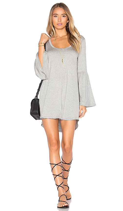 Chaser Cool Jersey Flared Sleeve Dress in Gray. - size L (also in M,S,XS)