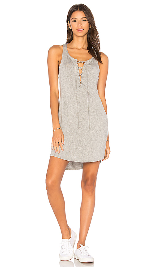 Chaser Lace Up Racer Back Dress in Gray