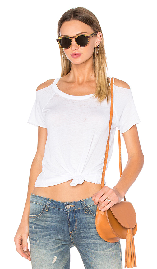 Chaser Deconstructed Cold Shoulder Tee in White