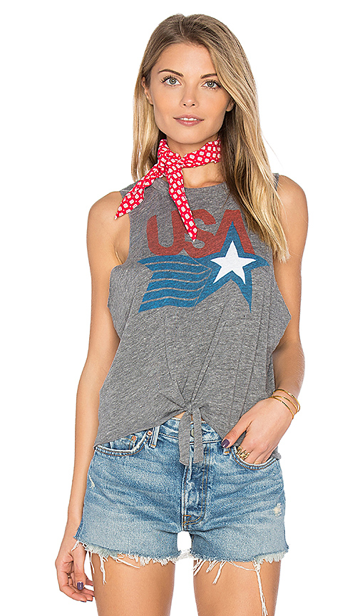 Chaser USA Tie Front Muscle Tee in Gray