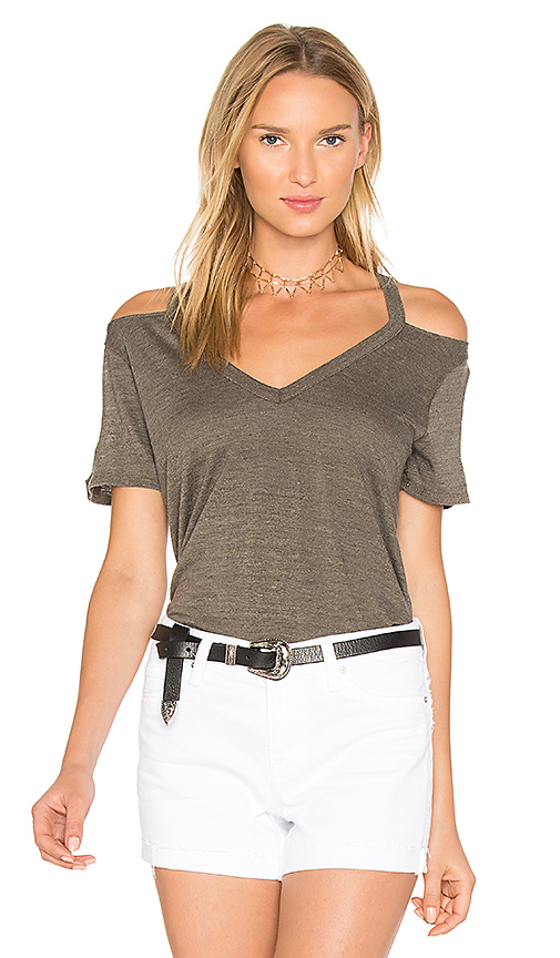 Chaser Double Cold Shoulder V-Neck Tee in Army