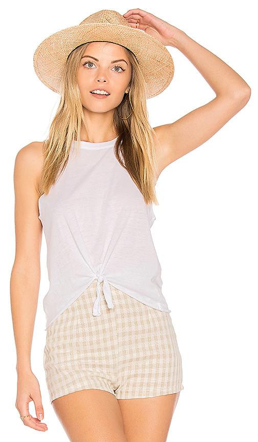 Chaser Tie Front Muscle Tee in White