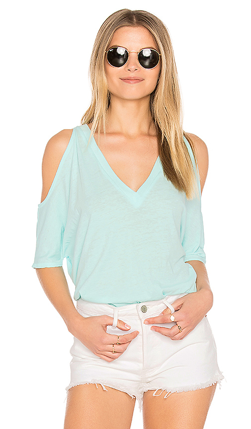 Chaser Cold Shoulder Oversized Dolman Tee in Turquoise