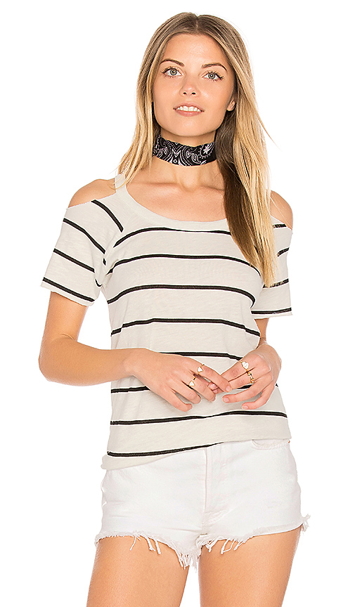 Chaser Cold Shoulder Raglan Tee in Cream