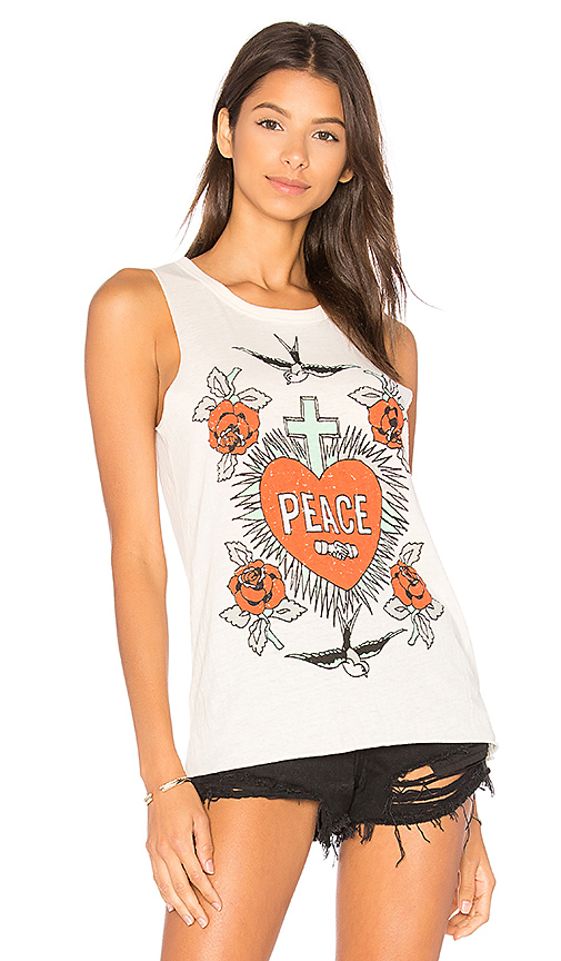 Chaser Peace & Love Tank in Ivory