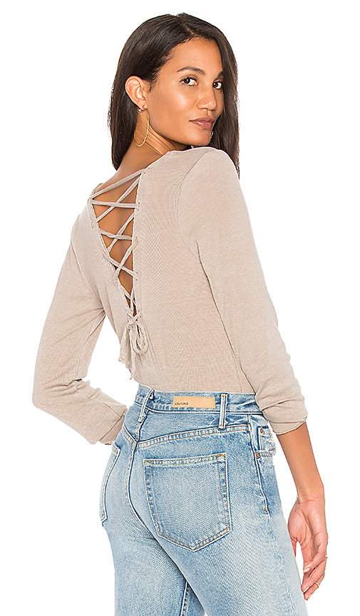 Chaser Vintage Rib Lace Back Tee in Brown