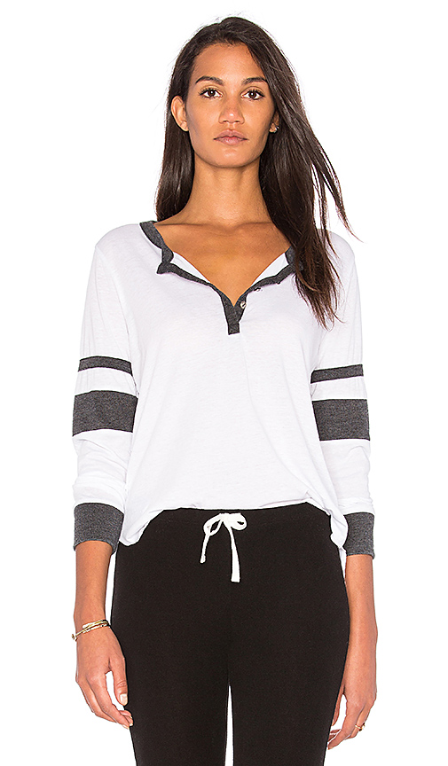 Chaser Blocked Jersey Henley Top in White