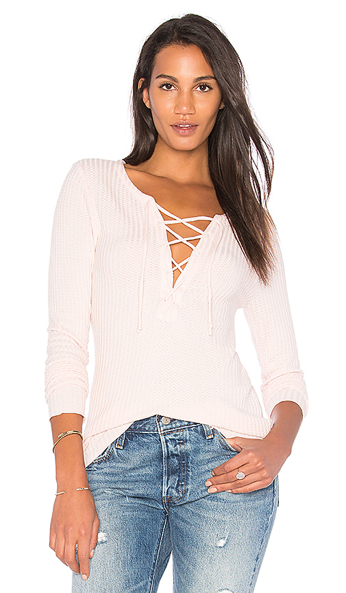 Chaser Thermal Lace Up Tee in Pink
