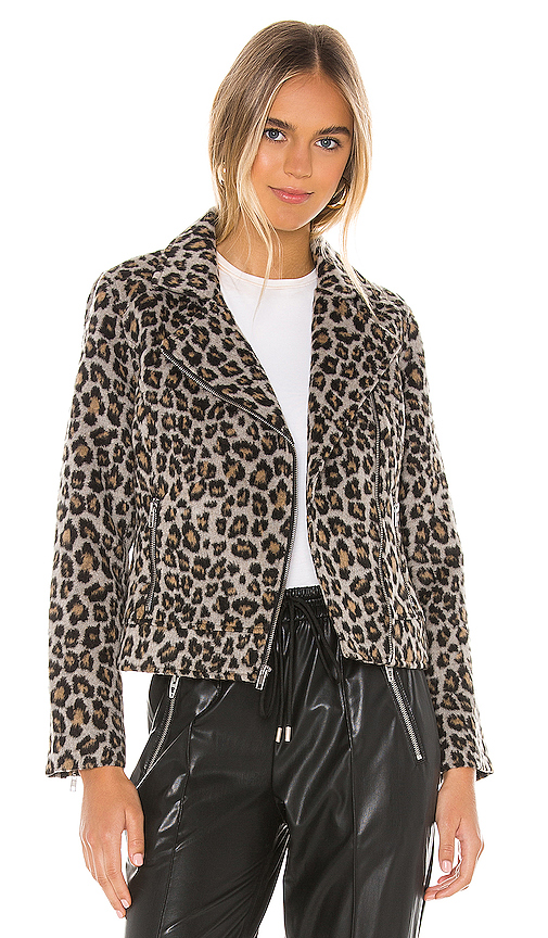 Cupcakes And Cashmere CUPCAKES AND CASHMERE MARGAUX LEOPARD MOTO JACKET IN GRAY.