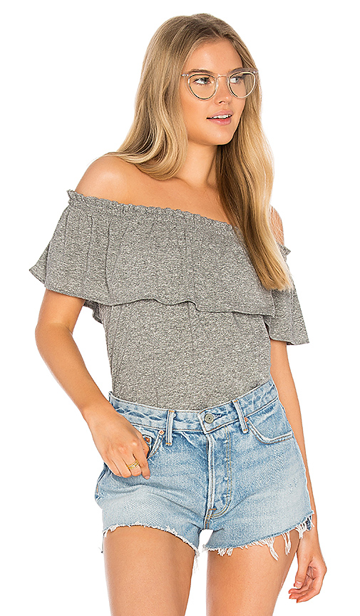 Current/Elliott The Ruffle Top in Gray