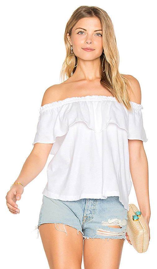 Current/Elliott The Ruffle Top in White