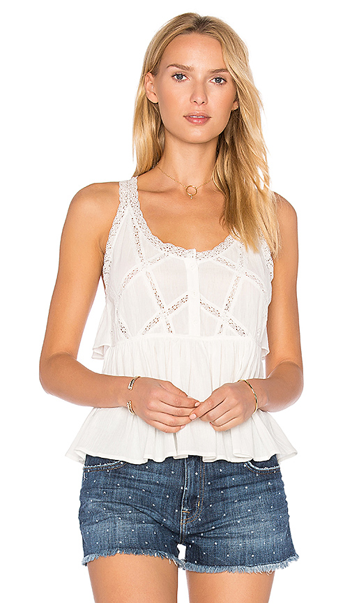 Current/Elliott The Lace Top in White