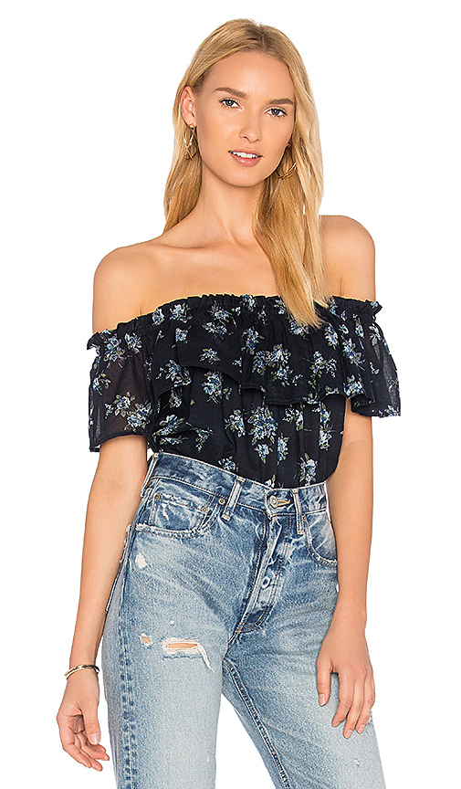 Current/Elliott The Ruffle Top in Blue