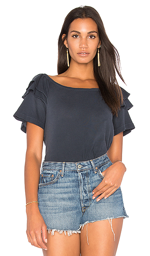 Current/Elliott The Double Ruffle Tee in Black