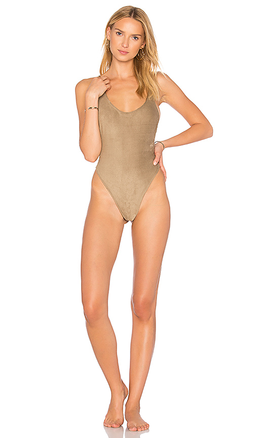 dbrie Daxi Reversible Sueded & Metallic One Piece in Brown