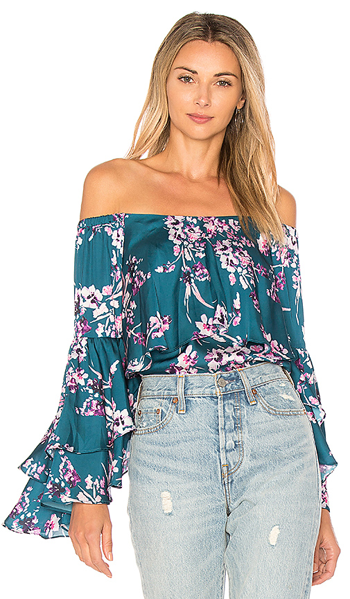 devlin Chelsea Off the Shoulder Top in Dark Green. - size L (also in M,S)
