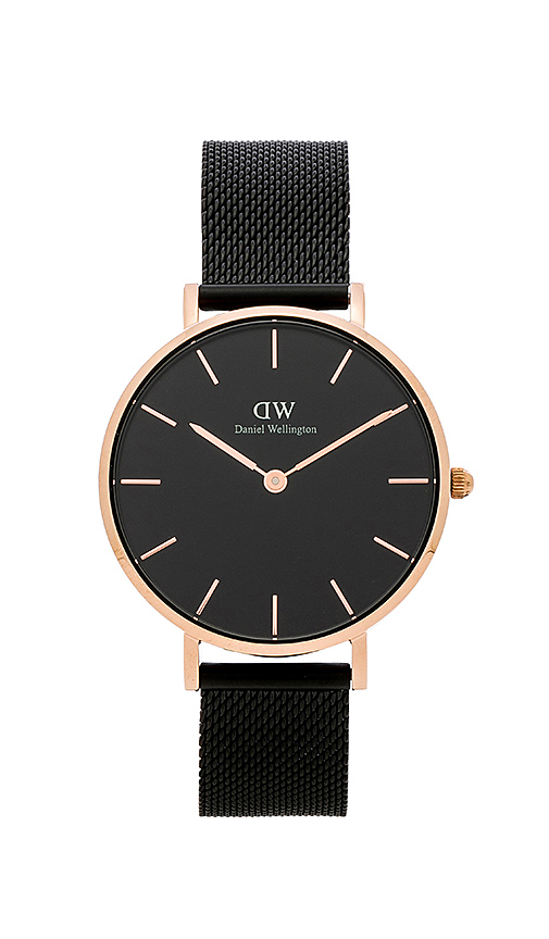 Daniel Wellington Classic Petite Ashfield Watch in Black.