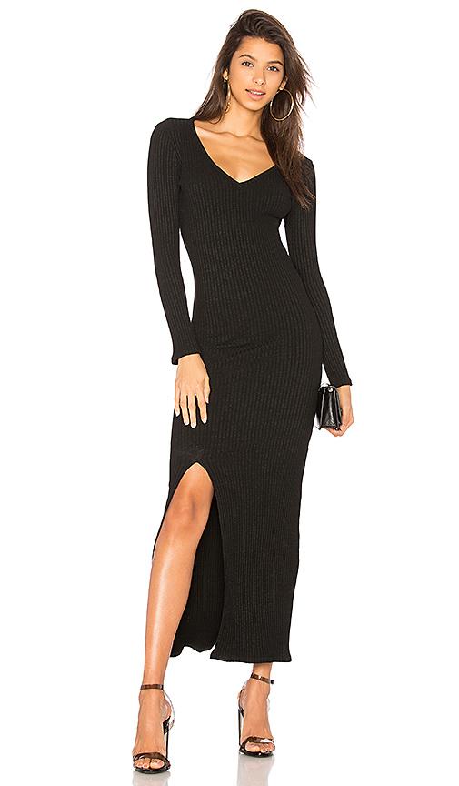David Lerner Slit Maxi Dress in Black