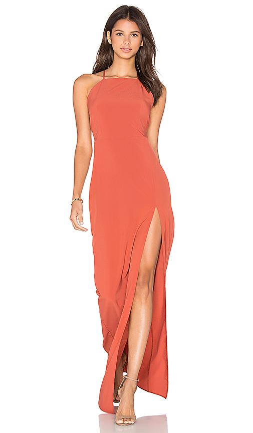 Donna Mizani Square Neck Maxi Dress in Rust