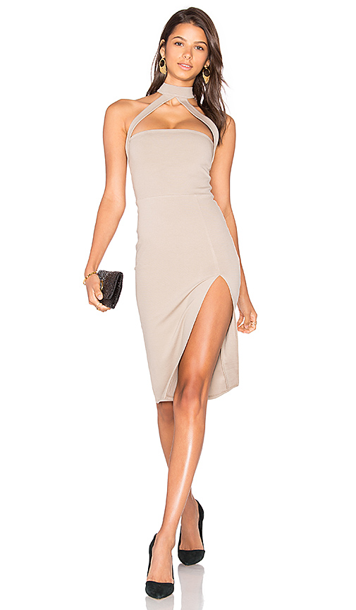Donna Mizani Cut Out Strapped Mock Midi Dress in Gray
