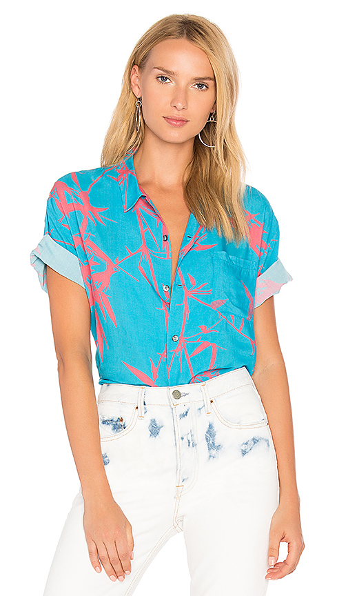 DOUBLE RAINBOUU Flame Trees Shirt in Blue. - size M (also in S,XS)