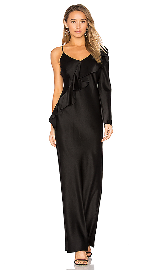 Diane von Furstenberg Asymmetrical Ruffle Dress in Black