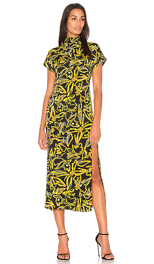 Diane von Furstenberg Side Slit Dress in Yellow