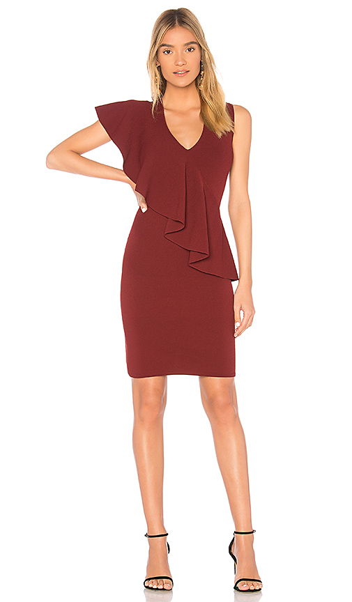 Diane von Furstenberg Ruffle Front Dress in Wine