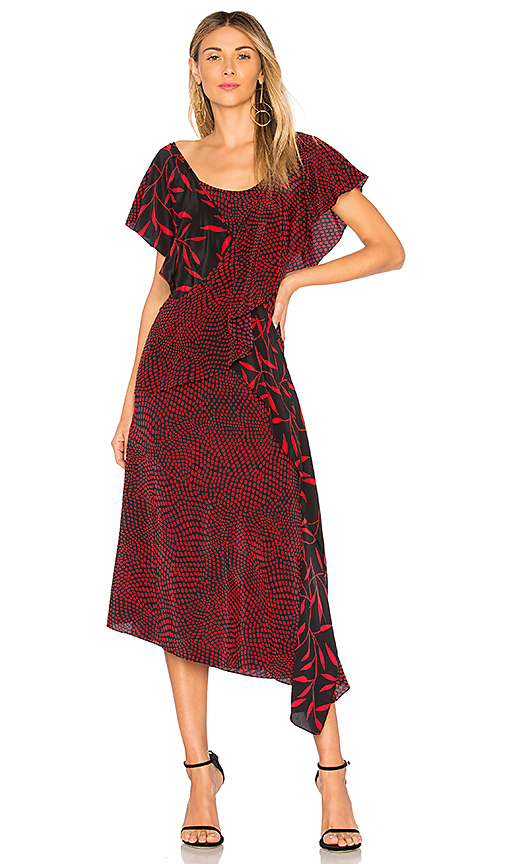 Diane von Furstenberg Draped Ruffle Dress in Red