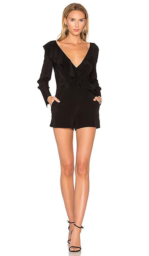 Diane von Furstenberg Ruffle Romper in Black. - size 0 (also in 2,4,6)