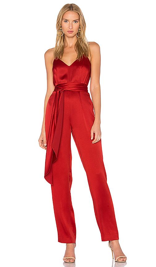 Diane von Furstenberg Deep V Jumpsuit in Red. - size 0 (also in 4)