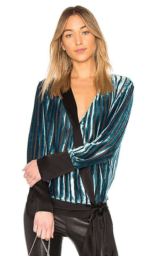 Diane von Furstenberg Cross Over Blouse in Turquoise