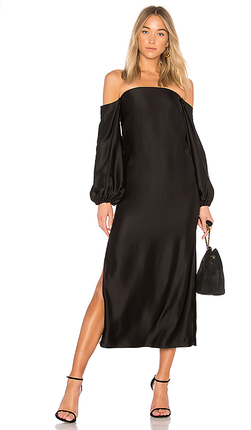 Elizabeth and James Malta Off the Shoulder Dress in Black