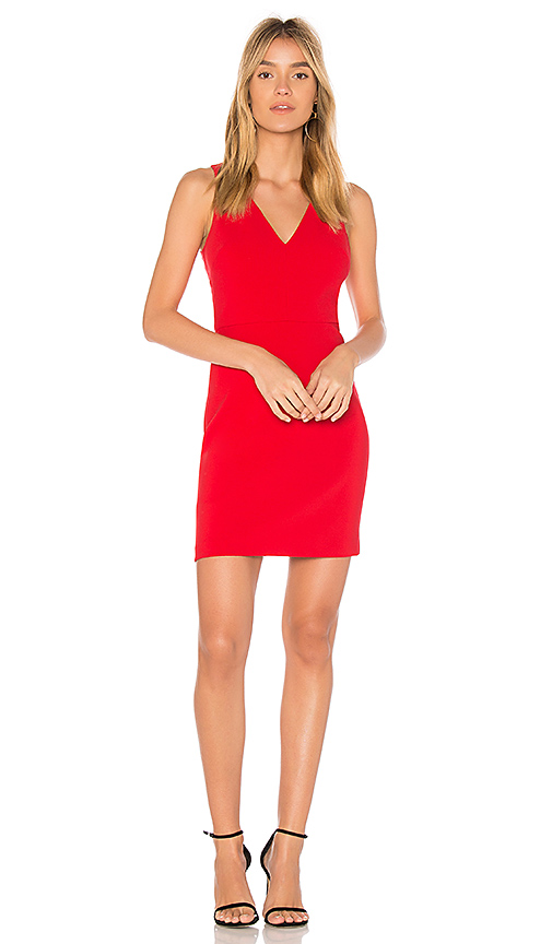 Elizabeth and James Alivia Fitted Dress in Red
