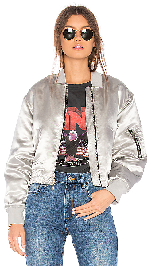 Elizabeth and James Royan Bomber Jacket in Metallic Silver. - size L (also in M,S,XS)
