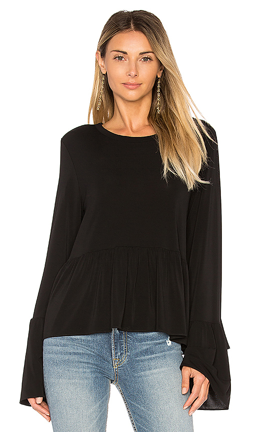 Elizabeth and James Fenton Flare Sleeve Top in Black. - size M (also in S,XS)