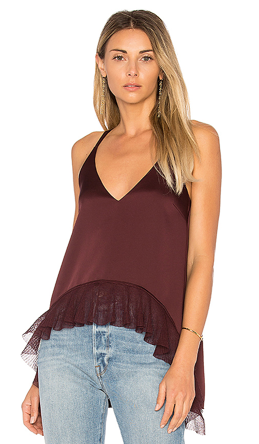 Elizabeth and James Manette Ruffle Tank in Wine