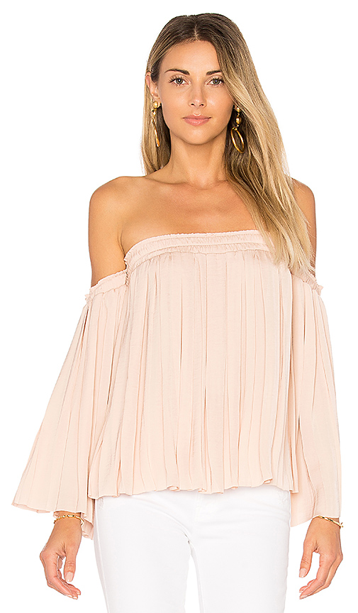 Elizabeth and James Emelyn Pleated Top in Beige