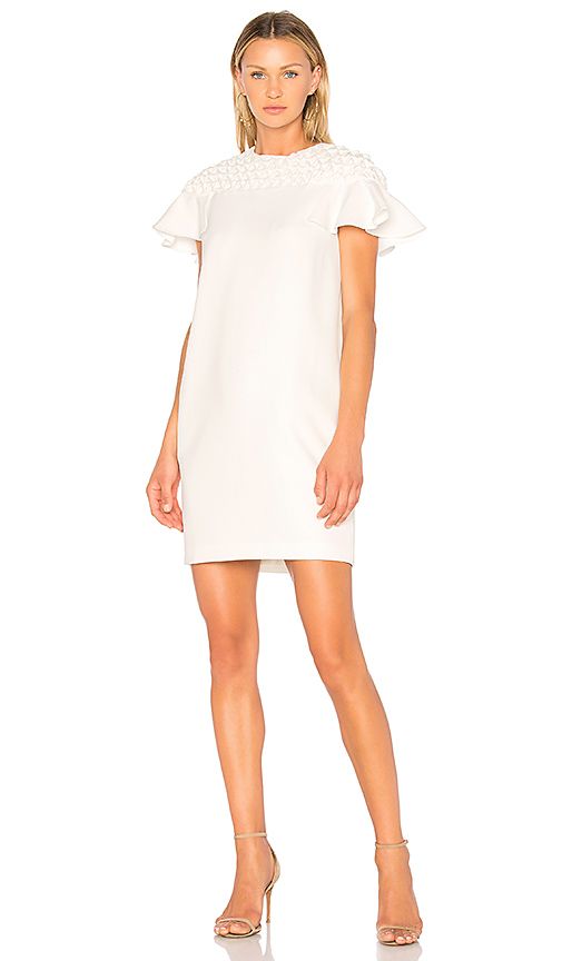 EDIT Frill Sleeve Smock Yoke Mini Dress in White