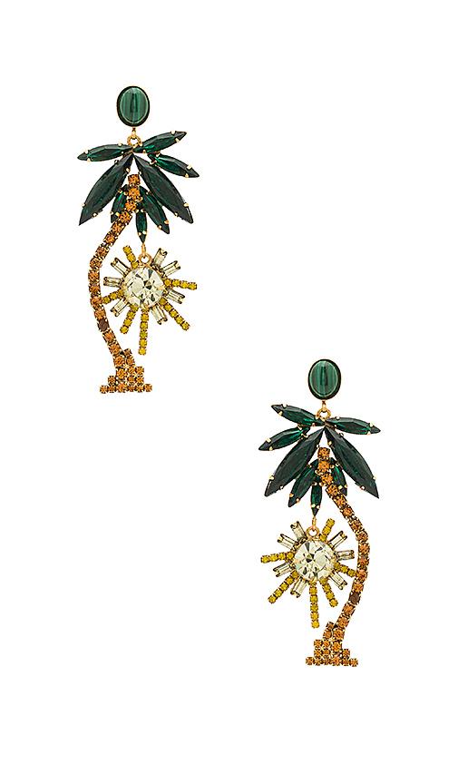 Elizabeth Cole Palm Tree Earrings in Metallic Gold
