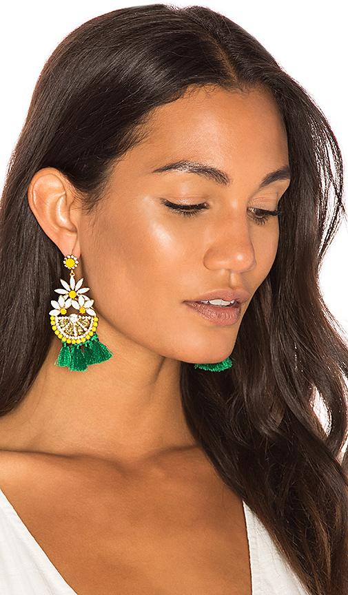 Elizabeth Cole Dandy Statement Earrings in Yellow