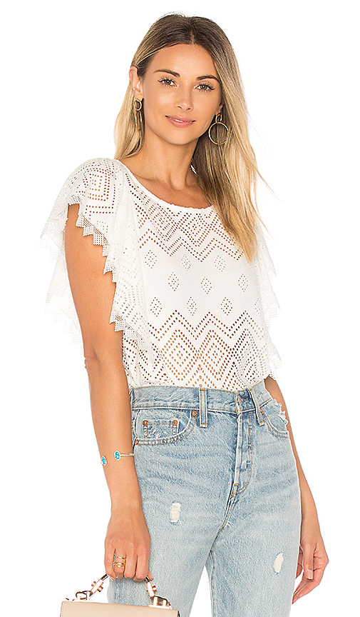 Ella Moss Pleated Lace Top in White