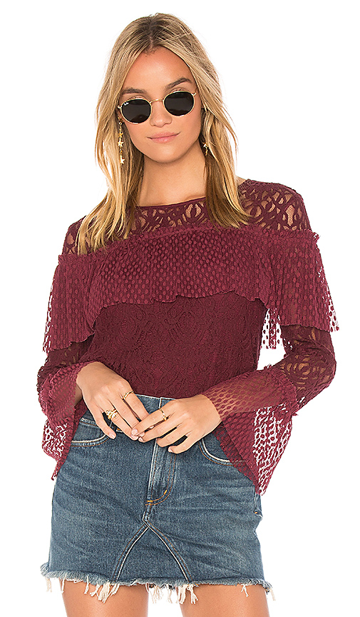 Ella Moss Lace Blouse in Burgundy