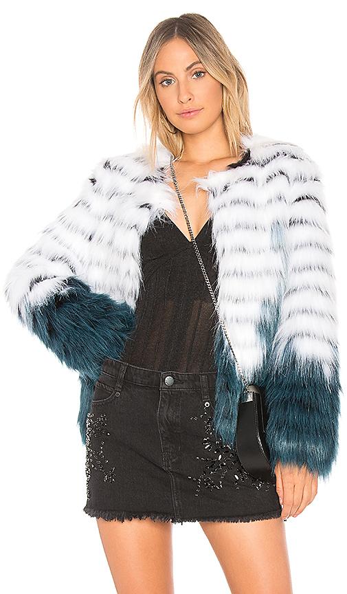 ELLIATT Felice Faux Fur Jacket in White & Teal Dip-Dye in White