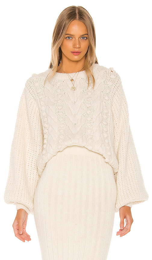 Eleven Six Charlotte Puff Sleeve Mixed-knit Sweater In Ivory