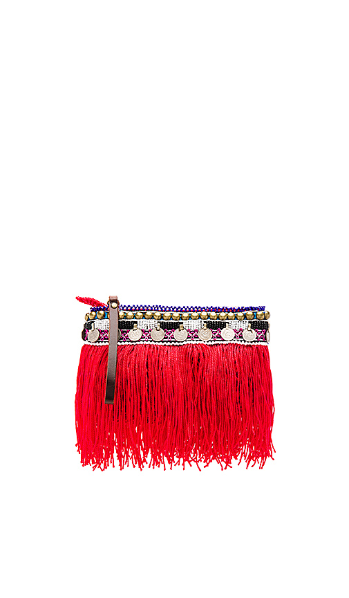 Elliot Mann Indie Beaded Pouch in Red