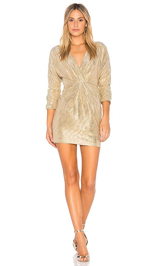 Endless Rose Surplice Dress in Metallic Gold